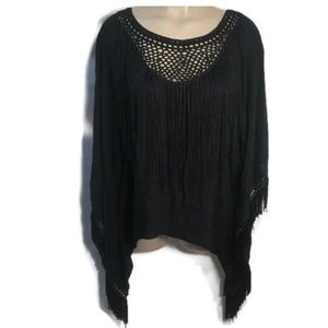 Hot & Delicious Black Boho Peasant Top L